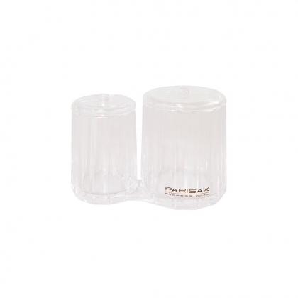 Pot rond double transparent avec couvercle